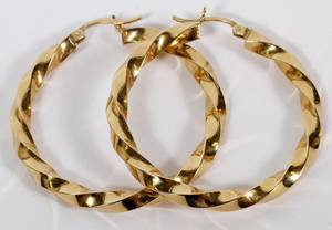 14KT YELLOW GOLD HOOP EARRINGS PAIR