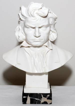 A SANTINI MOLDED BUST OF BEETHOVEN