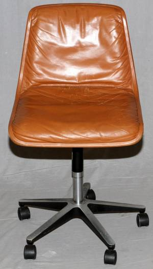 WEST GERMAN MIDCENTURY MODERN LEATHER OFFICE CHAIR