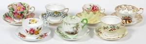 ENGLISH BONE CHINA CUPS AND SAUCERS 7 SETS