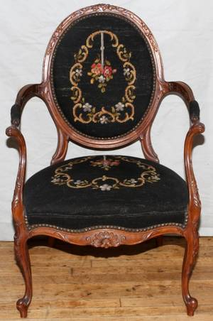 WALNUT AND NEEDLEPOINT LOUIS XVI STYLE ARMCHAIR