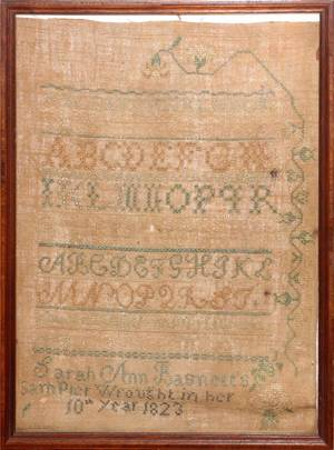 AMERICAN NEEDLEWORK SAMPLER 1823