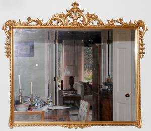 CARVED GILT WOOD WALL MIRROR C 1930 H 38 W 46