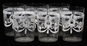 WHITE ENAMEL DECORATED JUICE GLASSES SET OF SIX