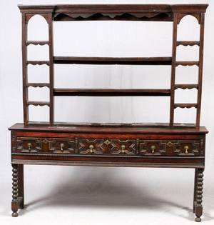 JACOBEAN STYLE OAK SIDEBOARD  SHELF 19TH C