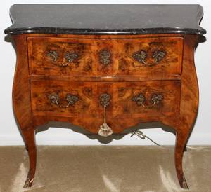 LOUIS XV STYLE WALNUT TWODRAWER COMMODE