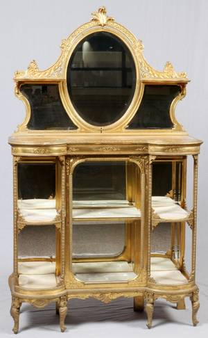 FRENCH GILT WOOD MIRRORED CURIO CABINET 19TH C