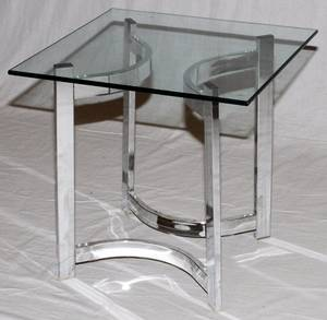 MODERN GLASS TOP  STEEL SQUARE TABLE