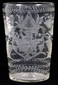 EUROPEAN ETCHED GLASS VESSEL DATED 1751