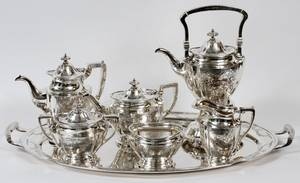 GORHAM STERLING TEA  COFFEE SET W TRAY 7 PIECES