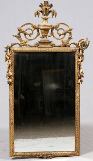 FRENCH STYLE CARVED GILT WOOD MIRROR 20TH C