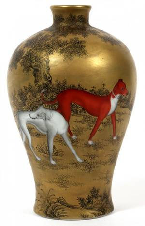 CHINESE GOLD LACQUER VASE C 1930