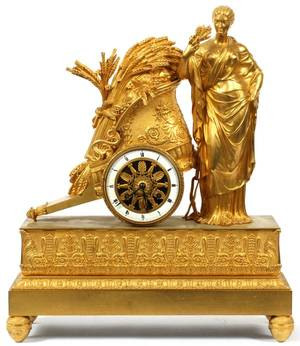 FRENCH GILT BRONZE MANTEL CLOCK C 1810