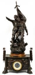 FRENCH BRONZE FIGURAL MANTEL CLOCK C 1917