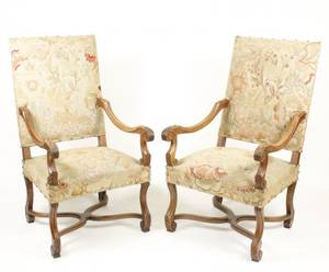 Pair of French Louis XIV Style Walnut Fauteuils