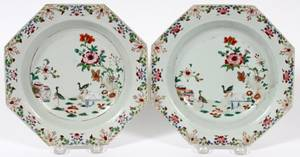 CHINESE EXPORT PORCELAIN PLATES 18TH C PAIR