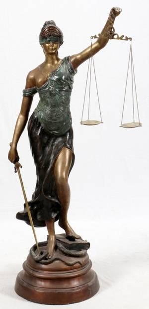 AFTER L STEINER BRONZE FIGURE OF JUSTICE