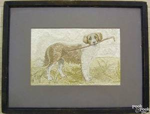 Silk needlework of a dog