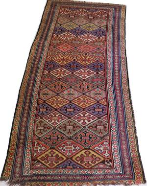 KURDISH NORTHWEST IRAN HAND WOVEN RUNNER C 1900