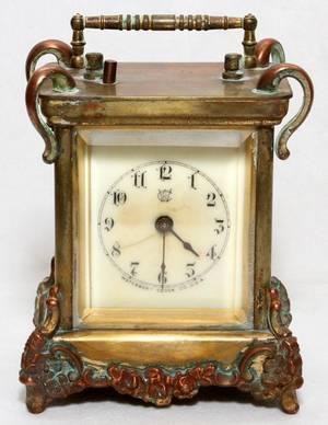 WATERBURY CLOCK CO BRASS CARRIAGE CLOCK C 1890