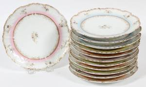 FRENCH LIMOGES PORCELAIN PLATES EARLY 20TH C SET OF 12