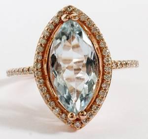 18KT ROSE GOLD  DIAMOND AQUAMARINE RING