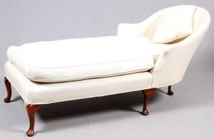 MAHOGANY UPHOLSTERED CHAISE LOUNGE
