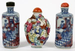 CHINESE PORCELAIN SNUFF BOTTLES THREE