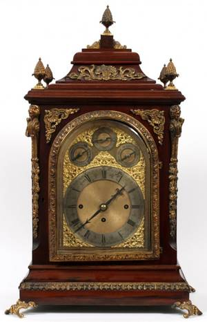 ENGLISH MAHOGANY BRACKET CLOCK 19TH C