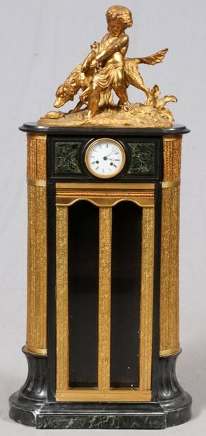 FRENCH GILT BRONZE  MARBLE FLOOR CLOCK 19TH C