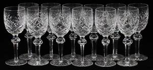 WATERFORD ALANA CUT CRYSTAL WINE GLASSES 12