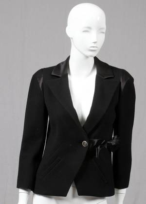 CHANEL BLACK WOOL BLEND  SILK BOW BLAZER