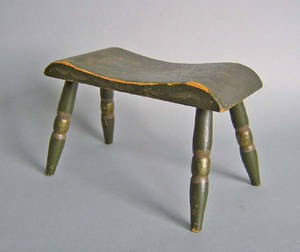 Painted foot stool with turned legs and gold and red stenciled decoration
