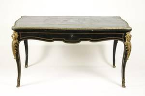 Louis XV Style Ebonized  Ormolu Bureau Plat