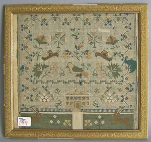 English silk on linen sampler dated 1833 and wrought by Ann Milborne