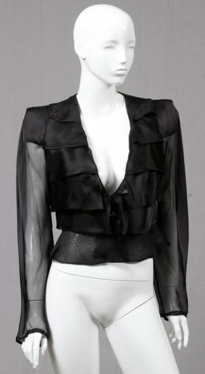 GIORGIO ARMANI BLACK SILK EVENING BLOUSE