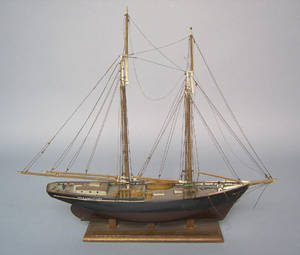 Carved and painted ship model early 20th c