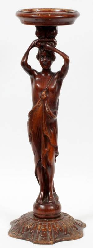 CARVED MAHOGANY FIGURAL SMOKING STAND C 1920