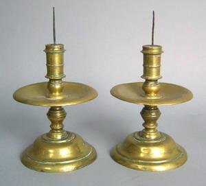 Pair of Dutch brass pricket sticks 17th c