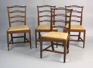 Set of 4 Chippendale mahogany dining chairs ca 1790