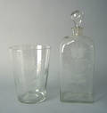 Clear blown glass Stiegel type decanter early 19th c