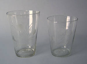 Two clear blown glass Stiegel type flips early 19th c
