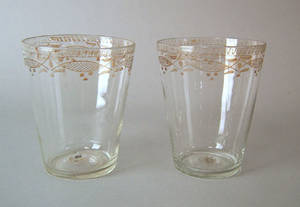 Two blown clear glass Stiegel type flips early 19th c