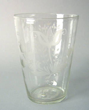 Large clear blown glass Stiegel type flip early 19th c
