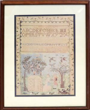 DECORATIVE PRINT OF A NEEDLEWORK SAMPLER