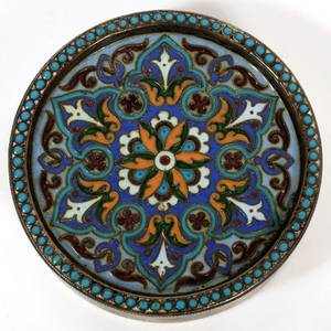 ANTIQUE RUSSIAN SILVER  CLOISONN ENAMEL SNUFF BOX