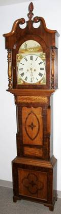 091051 ENGLISH OAK TALL CLOCK CASE CASE ONLY