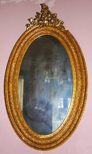 091050 ANTIQUE GILT WOOD  GESSO OVAL MIRROR C1890