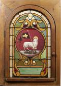 091134 AMERICAN STAINED  LEADED GLASS HINGED WINDOW