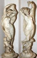 ITALIAN CARRARA MARBLE SCULPTURES C 1900 PAIR